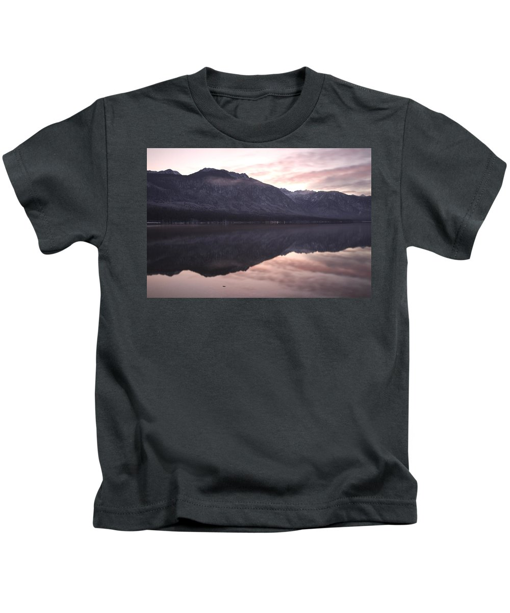 Bohinj Kids T-Shirt featuring the photograph First Sunset Of The Year by Ian Middleton