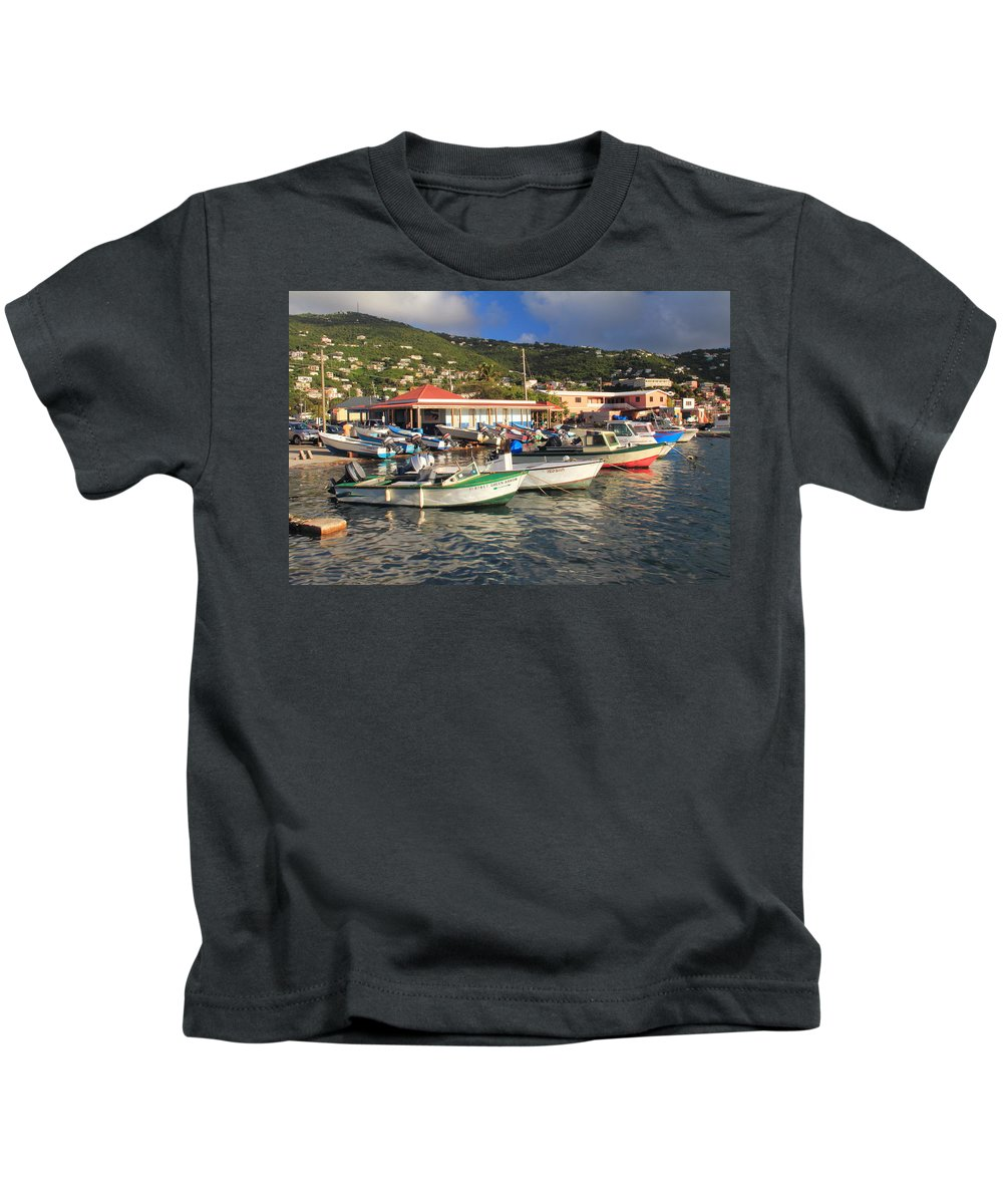 Boats Kids T-Shirt featuring the photograph Fishing Boats In Frenchtown by Roupen Baker