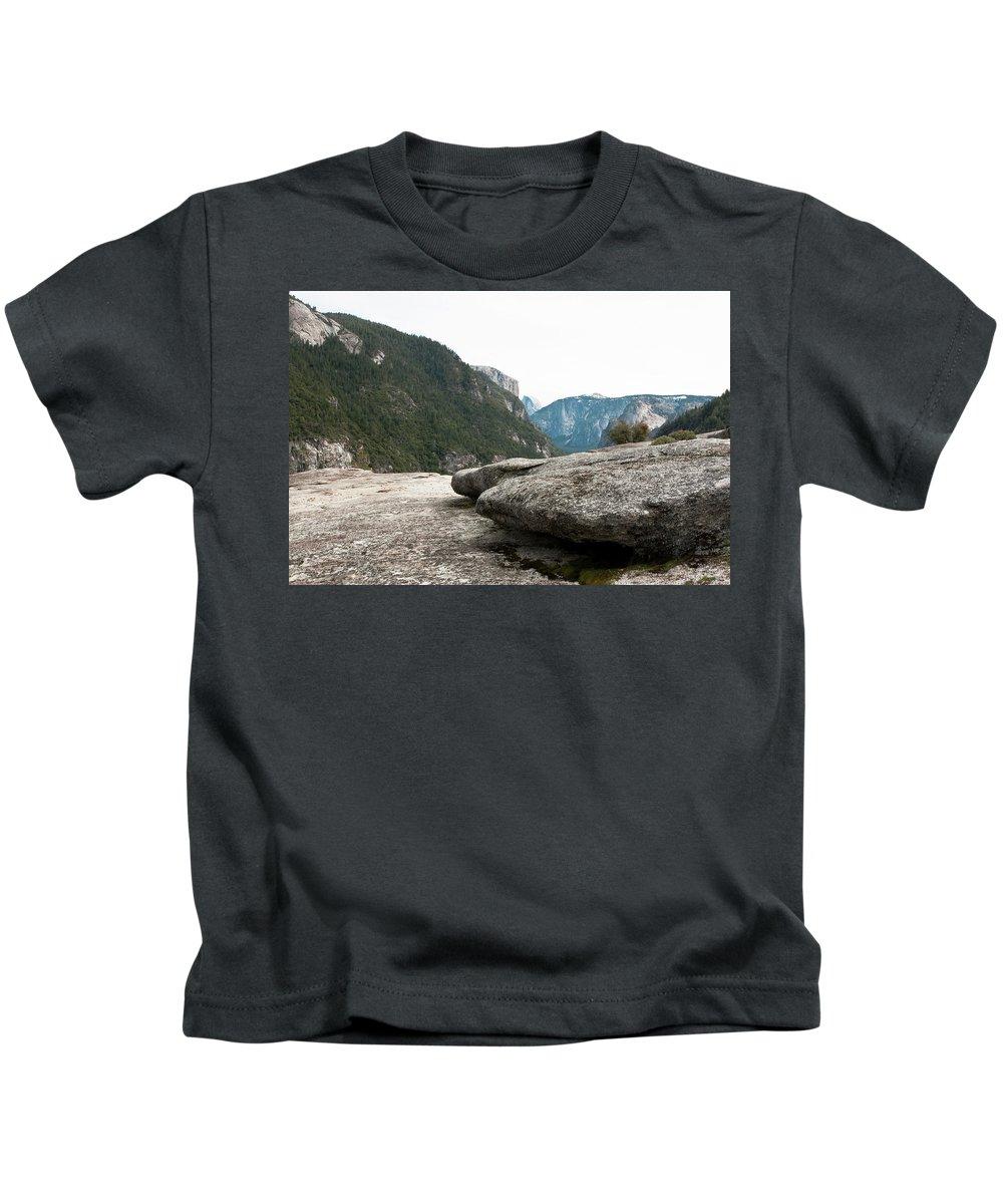 Yosemite National Park Kids T-Shirt featuring the photograph Flattop Rock Yosemite by Lorraine Devon Wilke