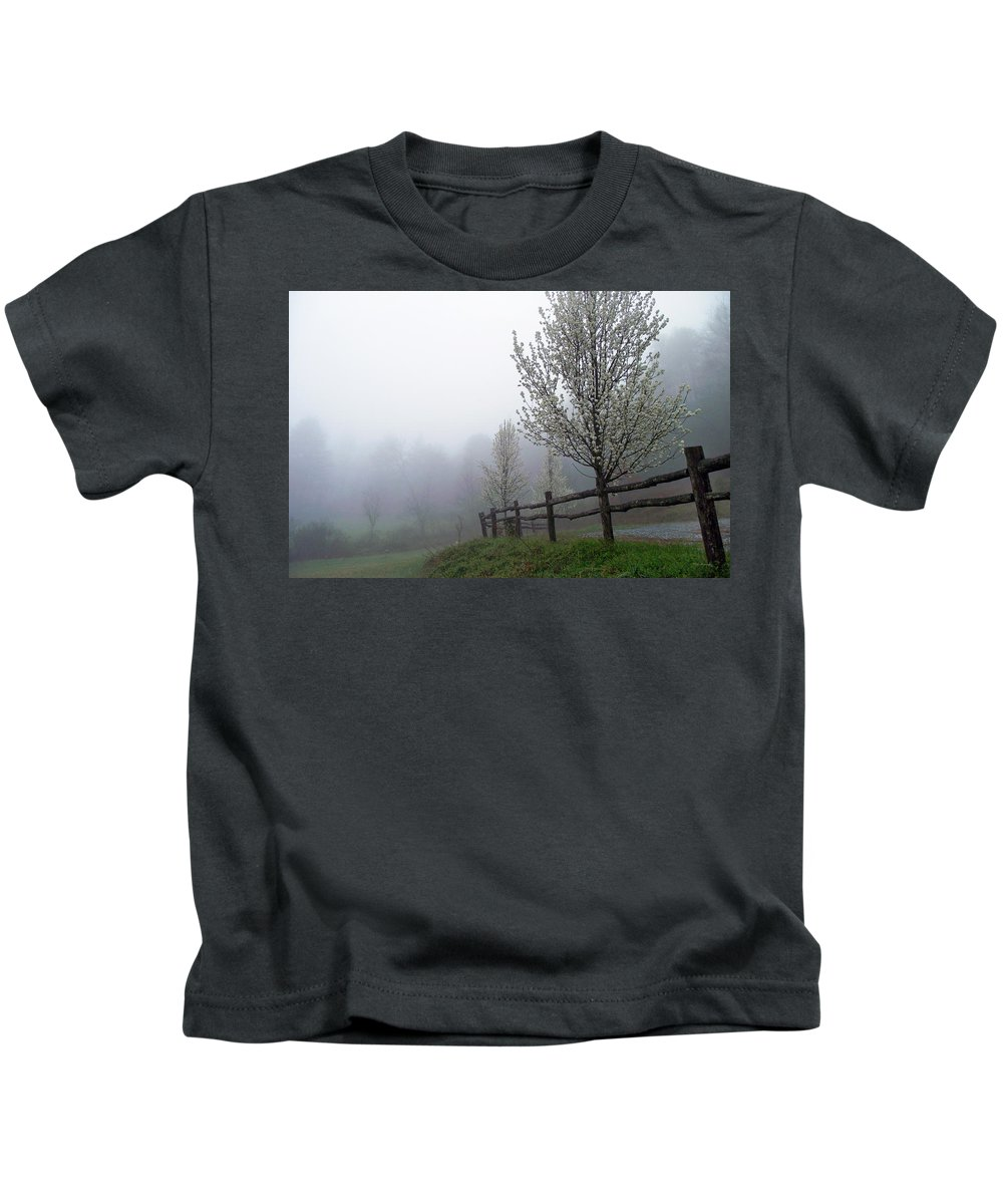 Trees Kids T-Shirt featuring the photograph Foggy Trees In The Valley by Duane McCullough