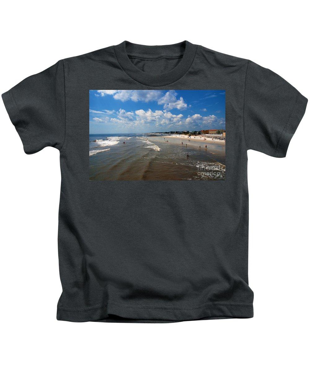 Folly Beach Kids T-Shirt featuring the photograph Folly Beach Charleston South Carolina by Susanne Van Hulst