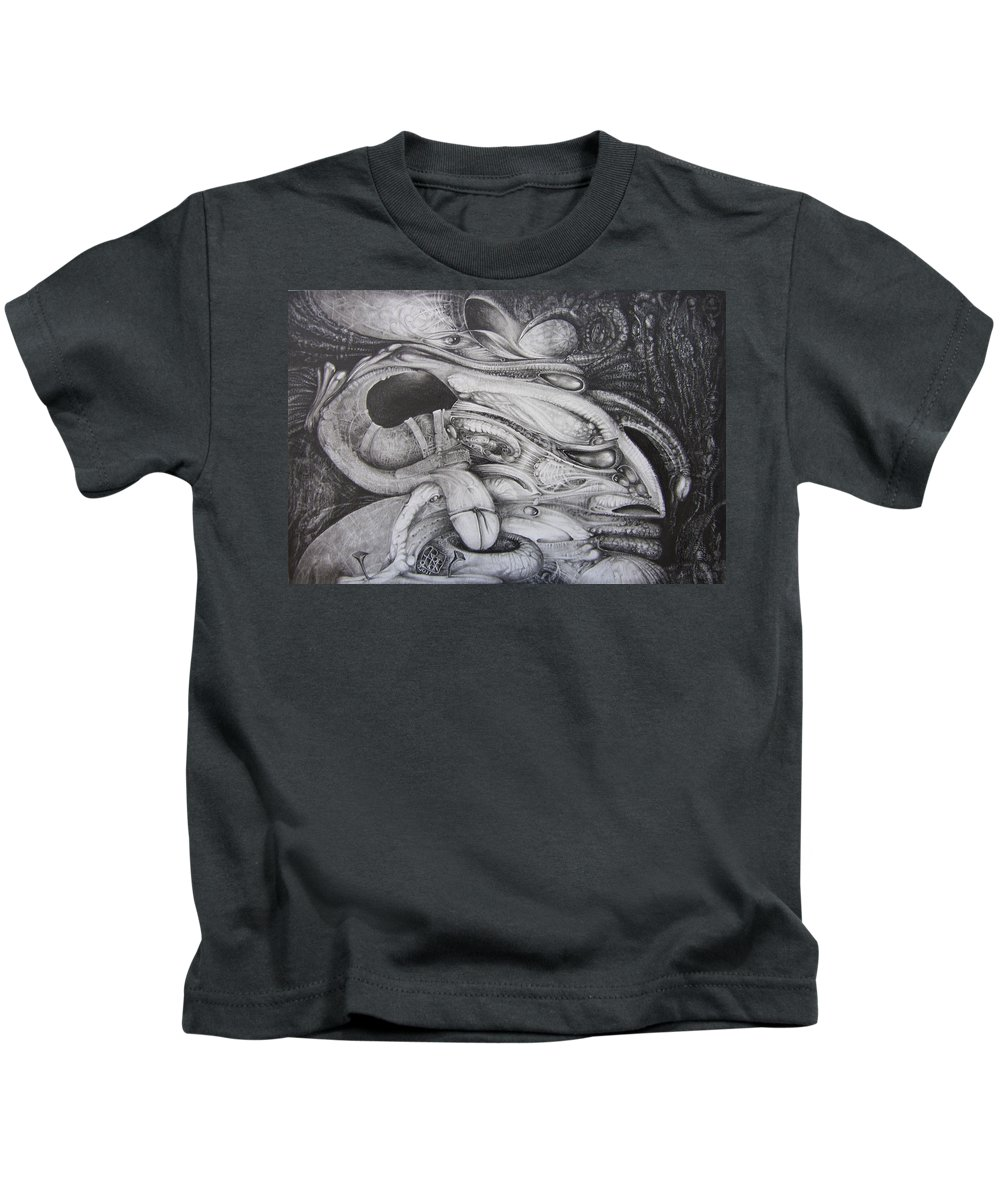 Fomorii Kids T-Shirt featuring the drawing Fomorii General by Otto Rapp