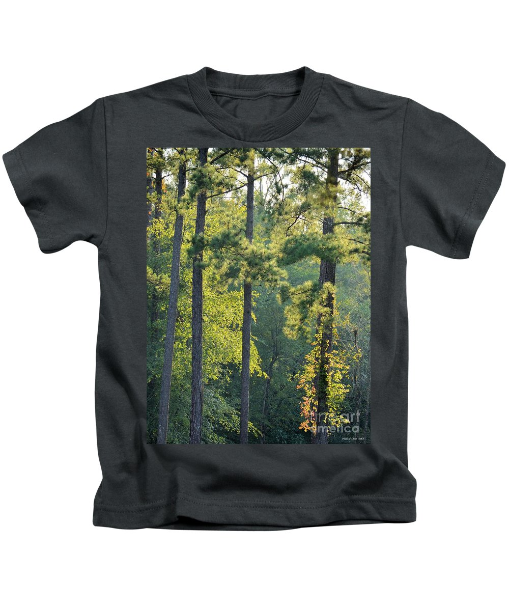 Forest Kids T-Shirt featuring the photograph Forest Illumination At Sunset by Maria Urso