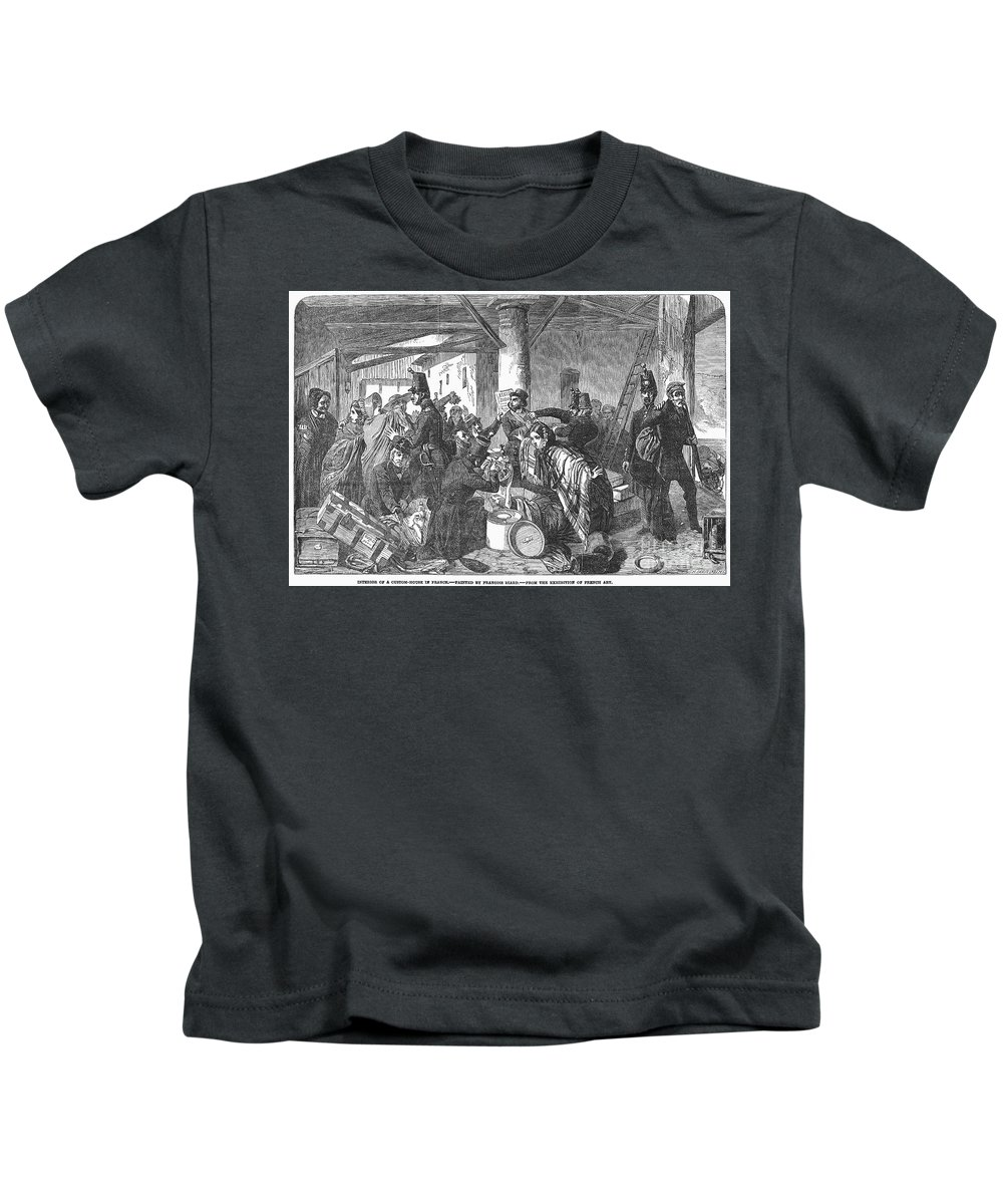 1854 Kids T-Shirt featuring the photograph France: Custom House, 1854 by Granger