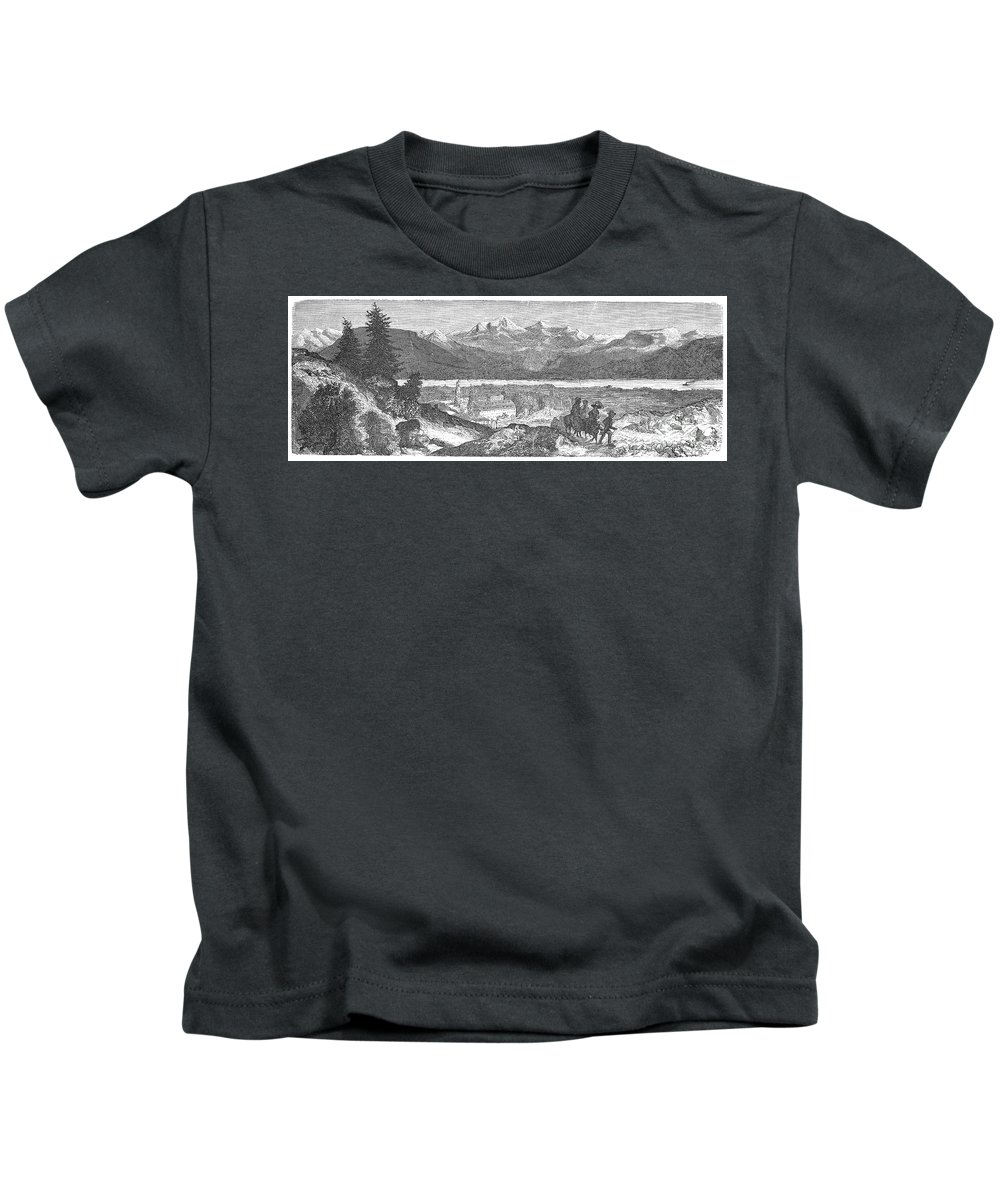 1856 Kids T-Shirt featuring the photograph France: Spa, 1856 by Granger