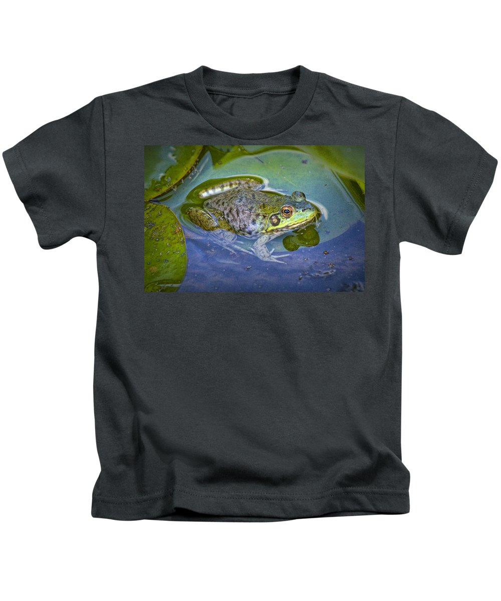 Art Kids T-Shirt featuring the photograph Frog Resting On A Lily Pad by Randall Nyhof