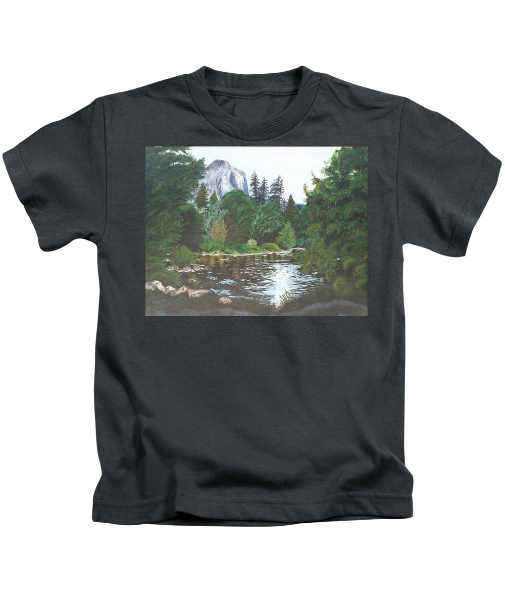 Yosemite Kids T-Shirt featuring the painting Frog's Eye View by Travis Day
