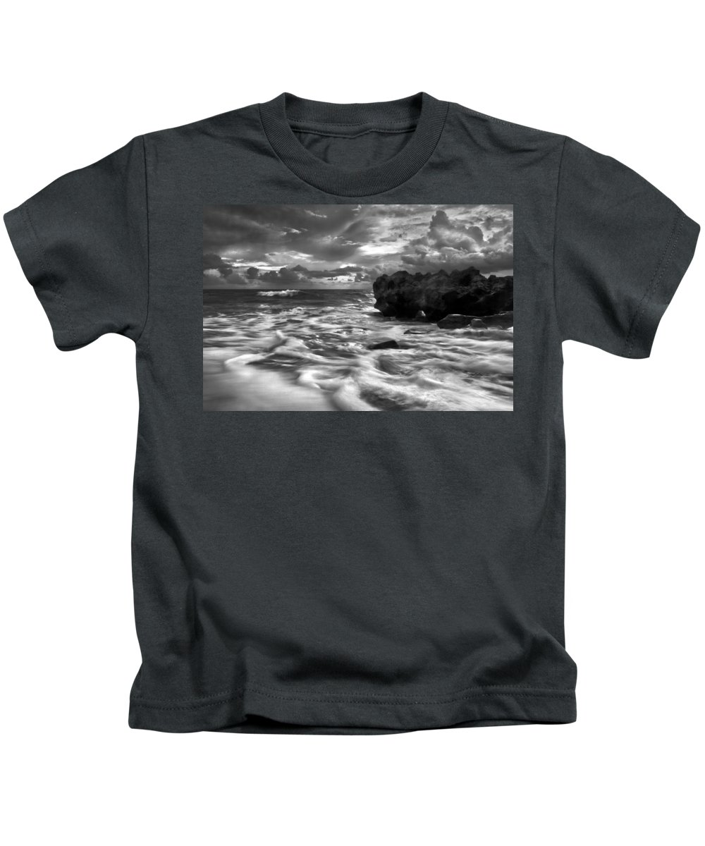 A1a Kids T-Shirt featuring the photograph Frothy Seas by Debra and Dave Vanderlaan