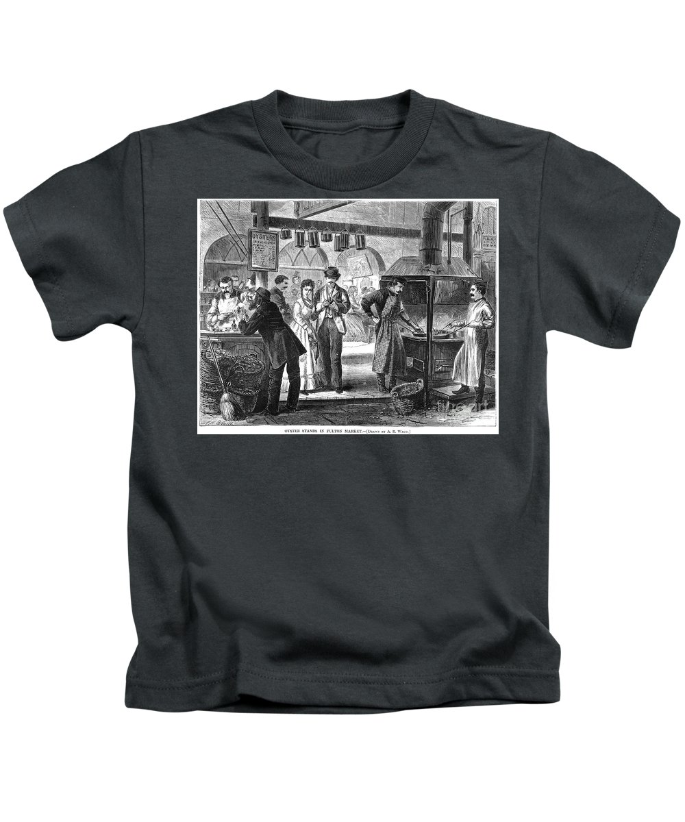 1870 Kids T-Shirt featuring the photograph Fulton Fish Market, 1870 by Granger