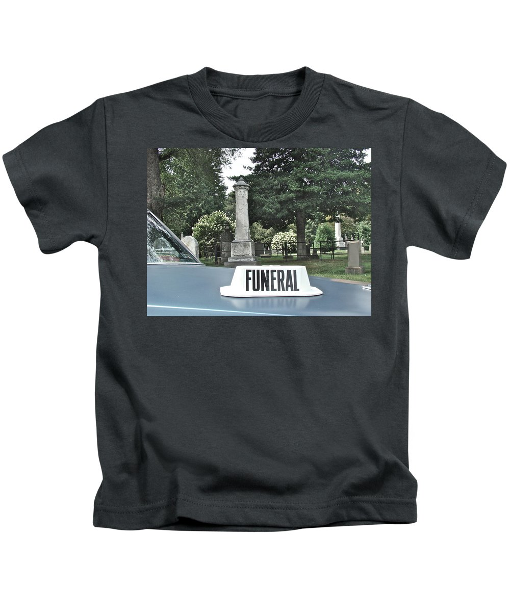 Funeral View Cemetery Laurel Hill Philadelphia Kids T-Shirt featuring the photograph Funeral by Alice Gipson