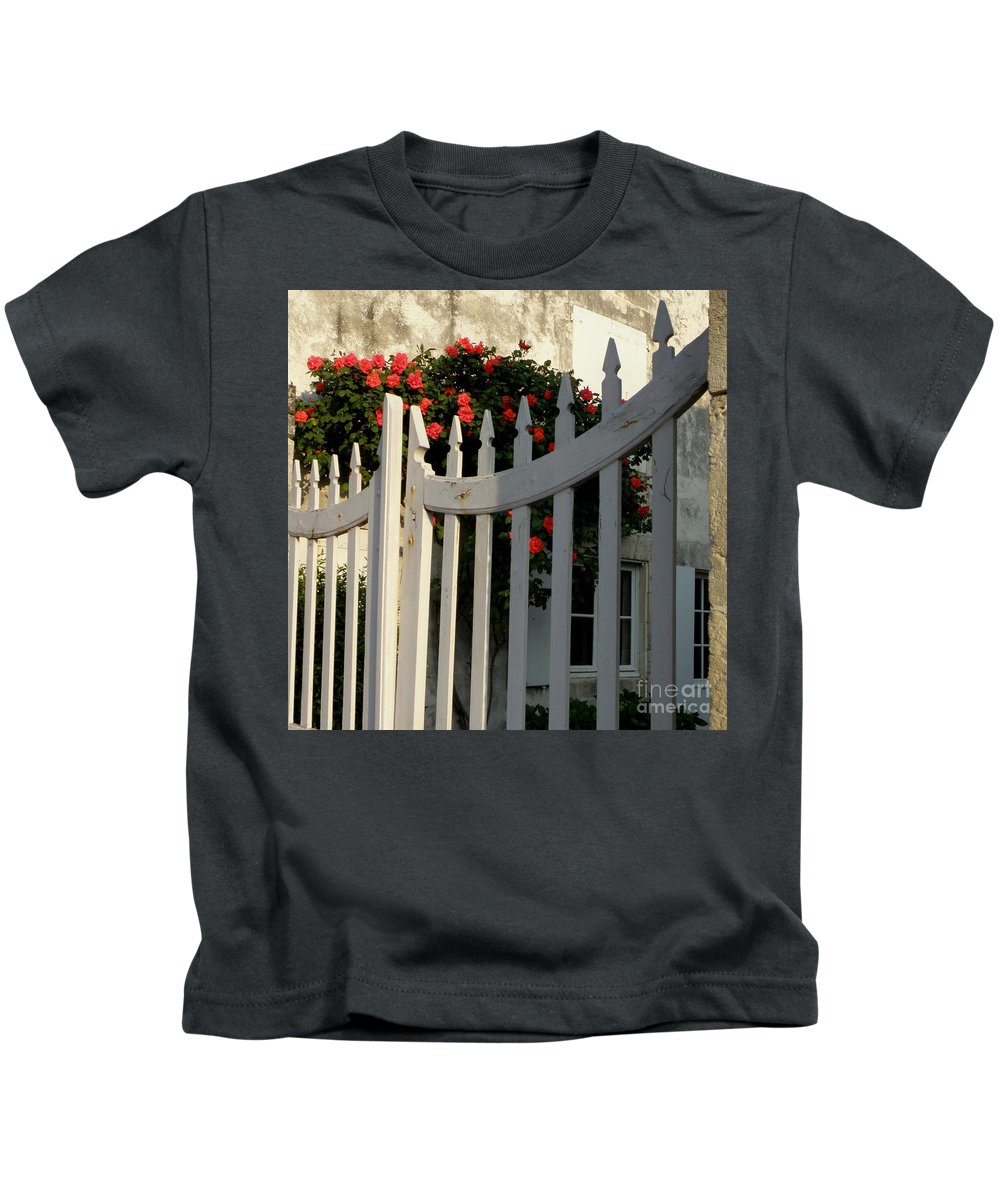 Roses Kids T-Shirt featuring the photograph Garden Gate by Lainie Wrightson