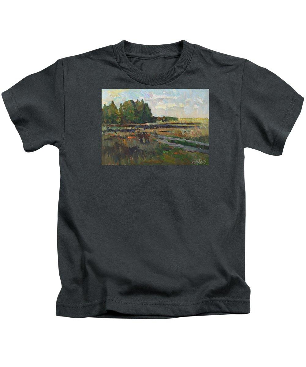 Russian Art Kids T-Shirt featuring the painting Gentle autumn by Juliya Zhukova
