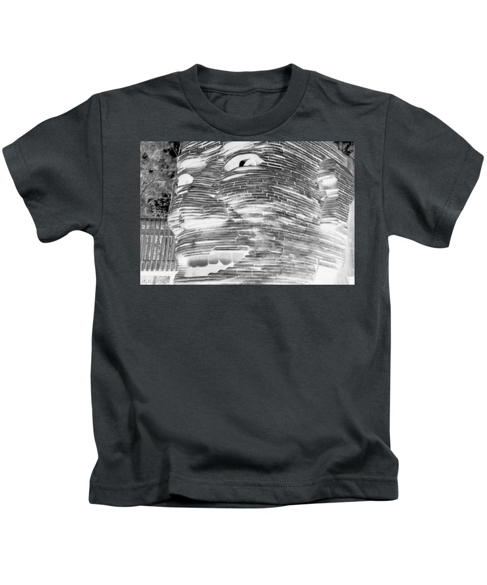 Architecture Kids T-Shirt featuring the photograph Gentle Giant In Negative Black And White by Rob Hans