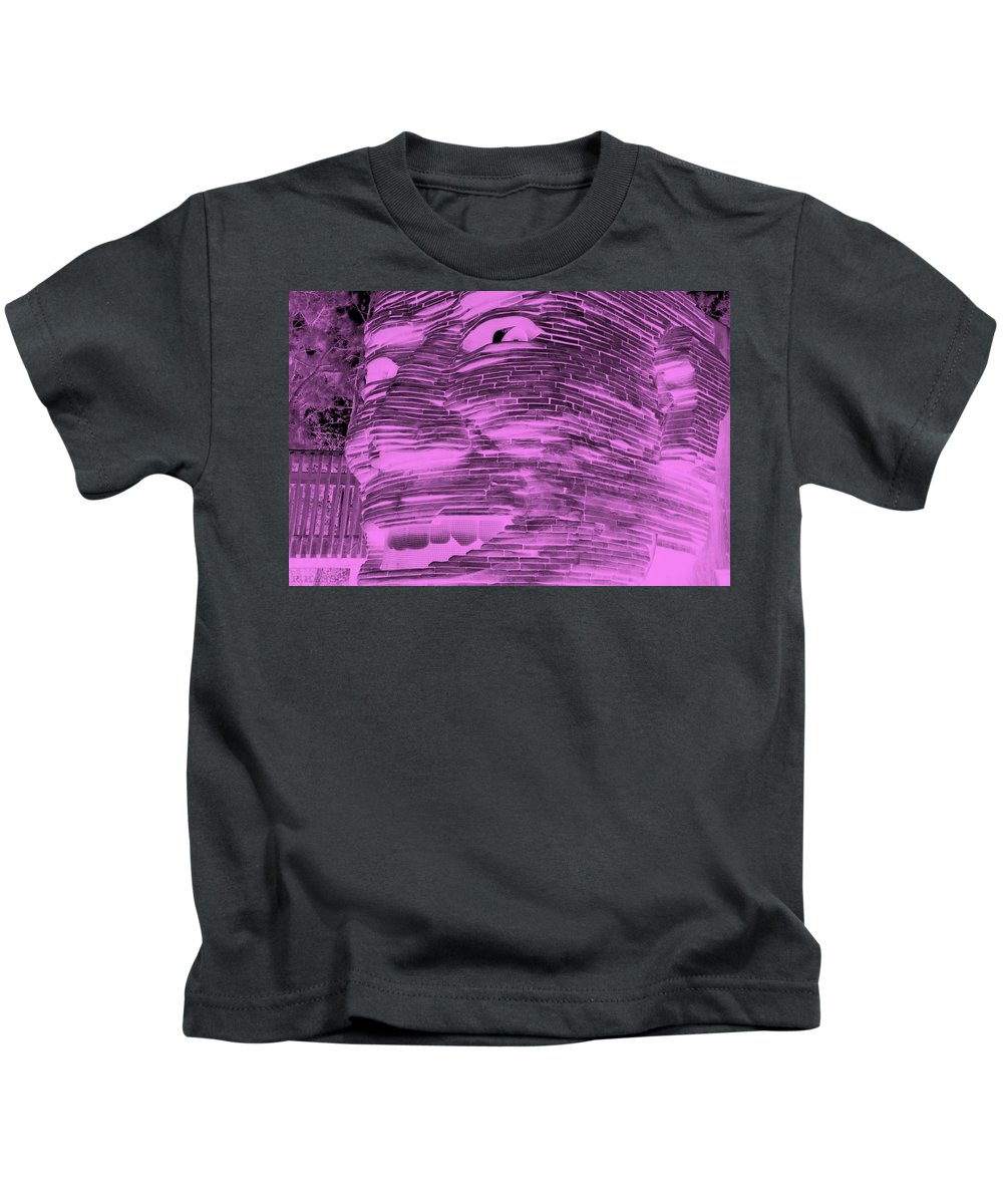 Architecture Kids T-Shirt featuring the photograph Gentle Giant In Negative Pink by Rob Hans