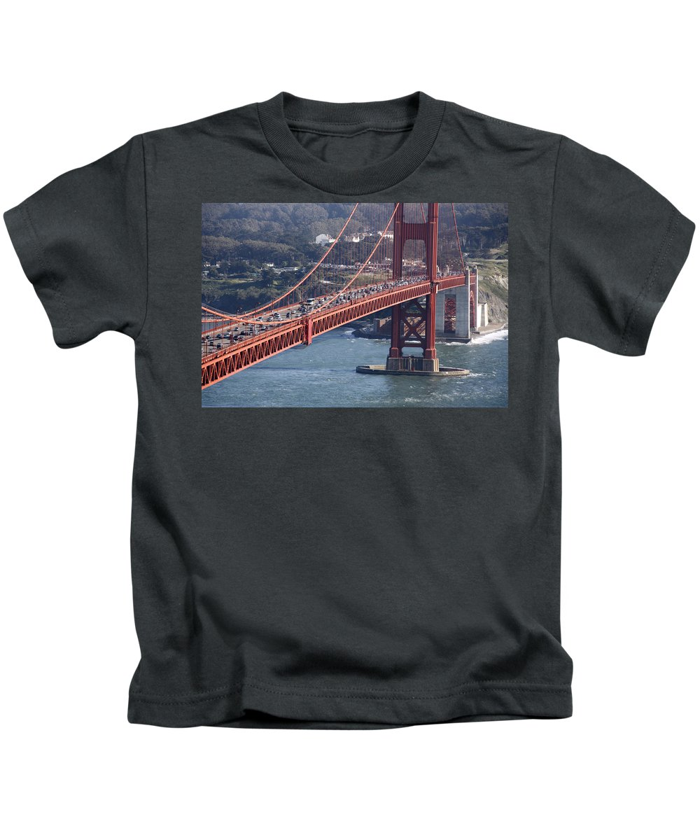 Golden Gate Traffic Kids T-Shirt featuring the photograph Golden Gate Traffic by Wes and Dotty Weber