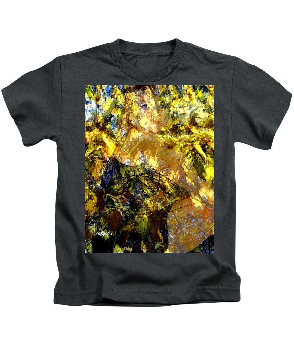 Golden Shadows Kids T-Shirt featuring the digital art Golden Shadows by Seth Weaver