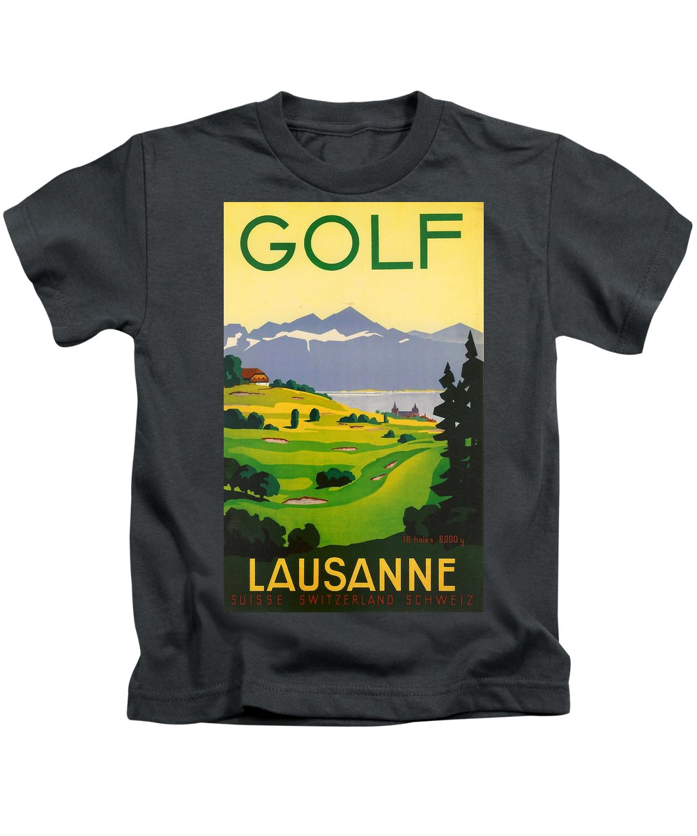 Golf Kids T-Shirt featuring the digital art Golfing In Lausanne by Georgia Fowler