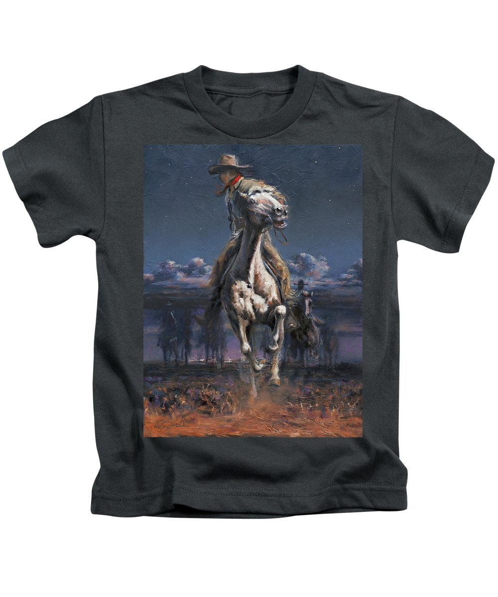 Cowboys Kids T-Shirt featuring the painting Grab The Fast Horse by Mia DeLode