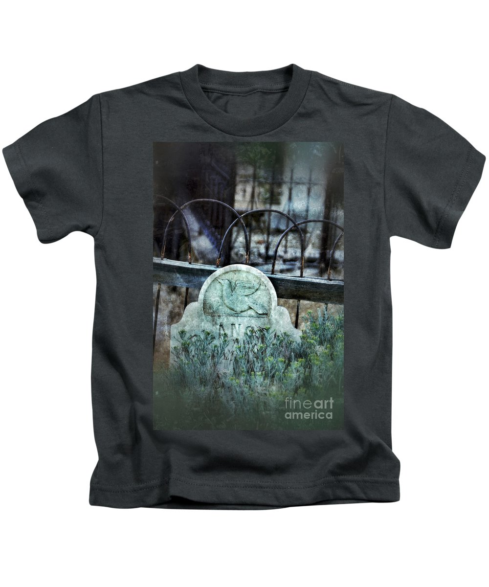 Iron Kids T-Shirt featuring the photograph Gravestone With Dove Carved by Jill Battaglia