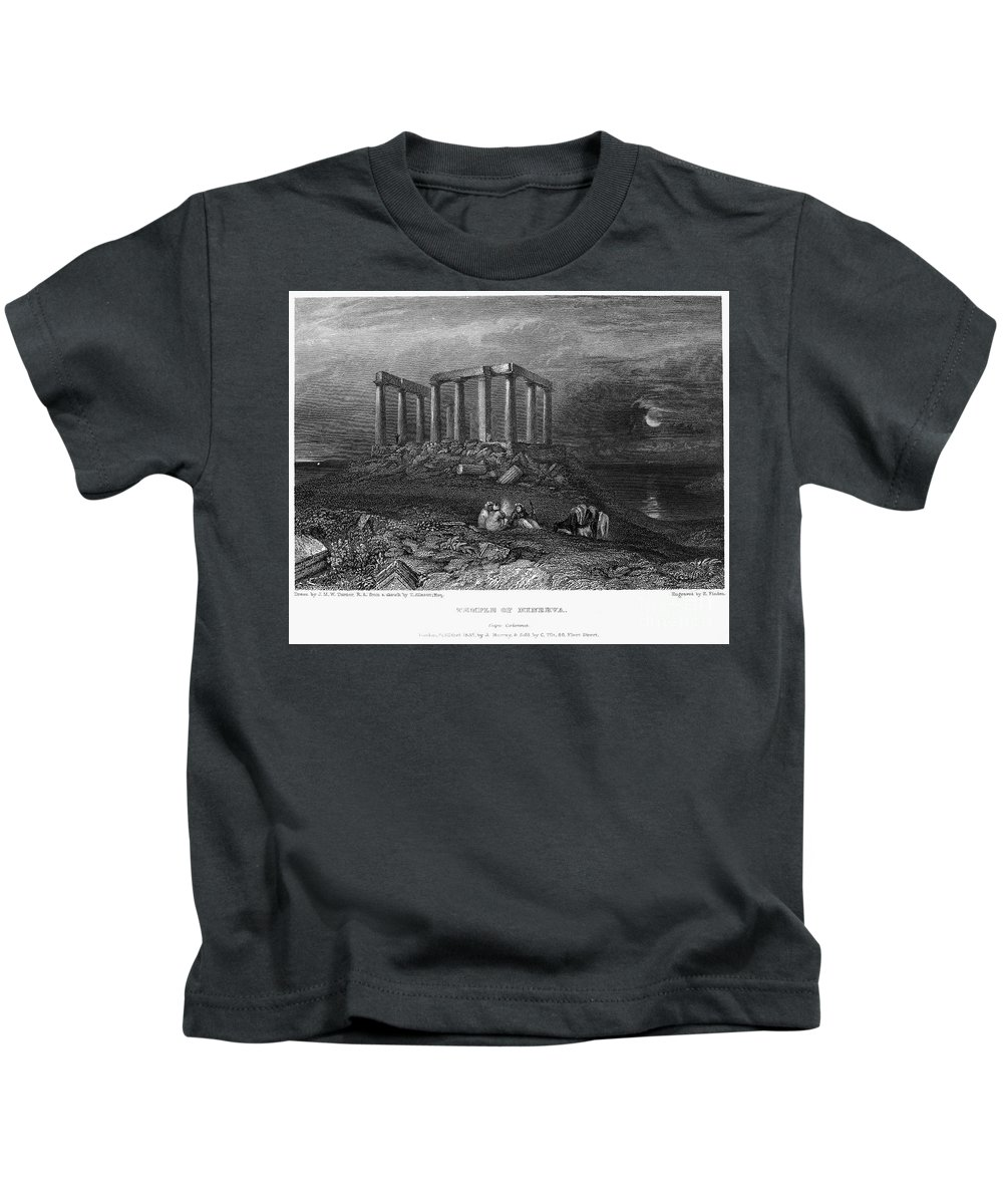 1832 Kids T-Shirt featuring the photograph Greece: Cape Sounion, 1832 by Granger
