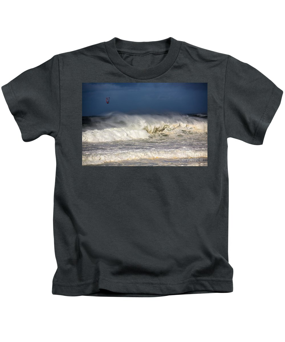 Kite Surfer Kids T-Shirt featuring the photograph Hanging in there by Sheila Smart Fine Art Photography