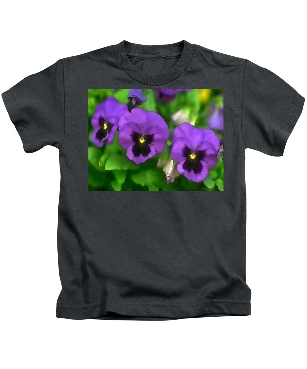 Pansy Kids T-Shirt featuring the painting Happy Faces Purple Pansies by Elaine Plesser