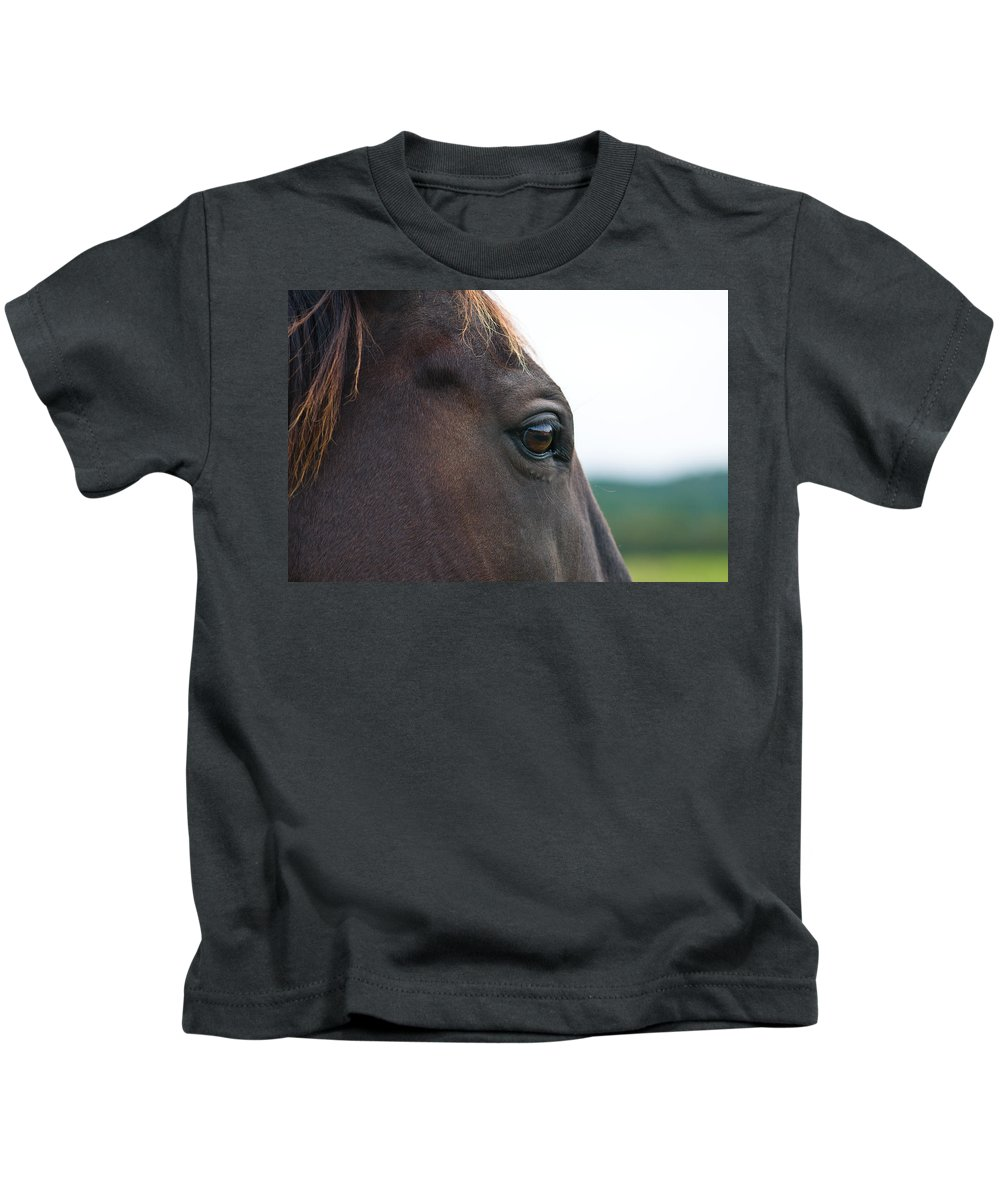 Animal Kids T-Shirt featuring the photograph Head Of A Wild Horse In The Wilderness by U Schade