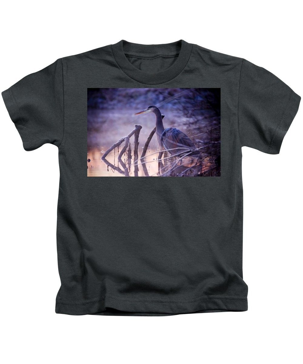 Heron Kids T-Shirt featuring the photograph Heron by Martin Cooper