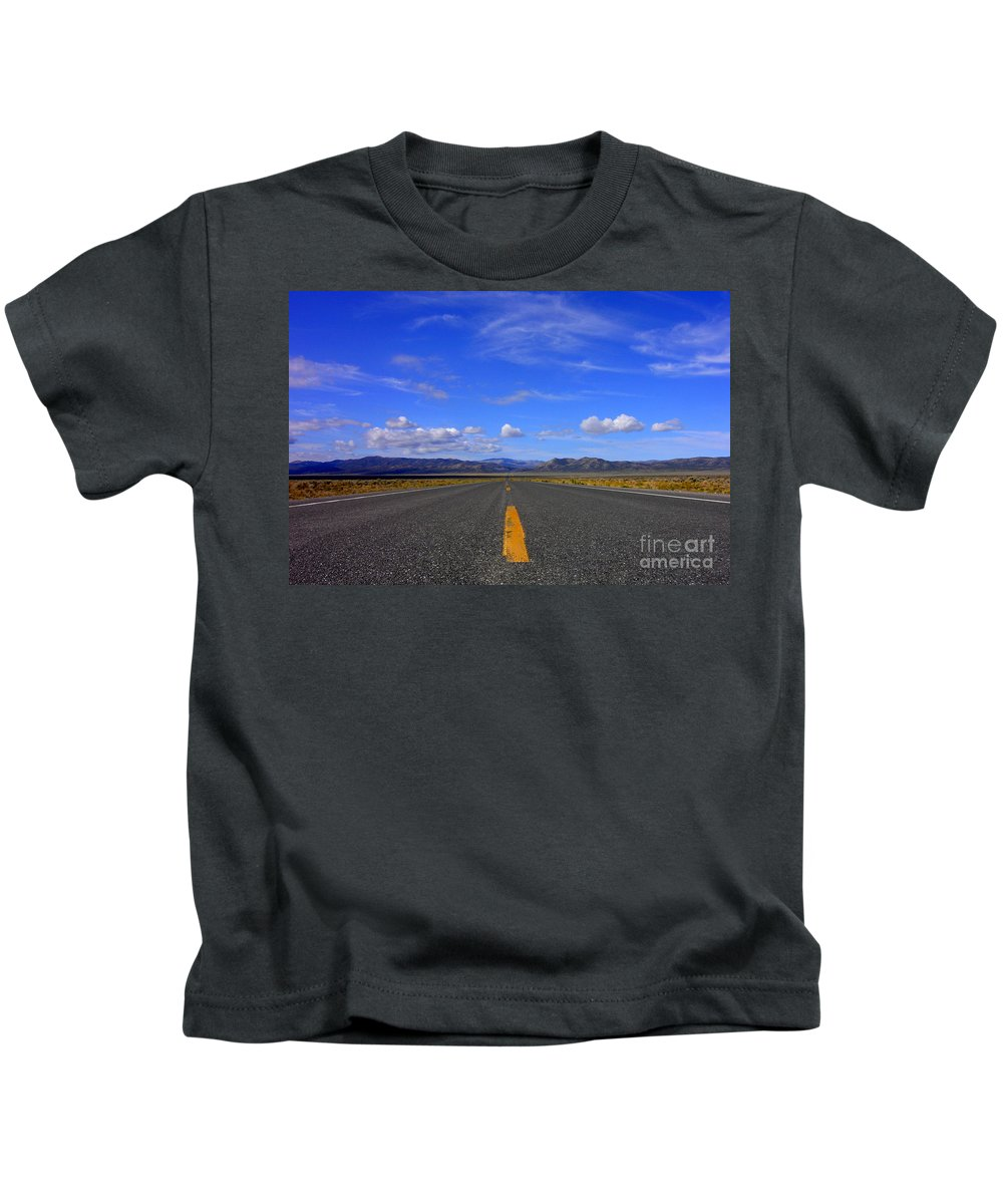 Highway Kids T-Shirt featuring the photograph Highway To Nowhere by Mike Nellums