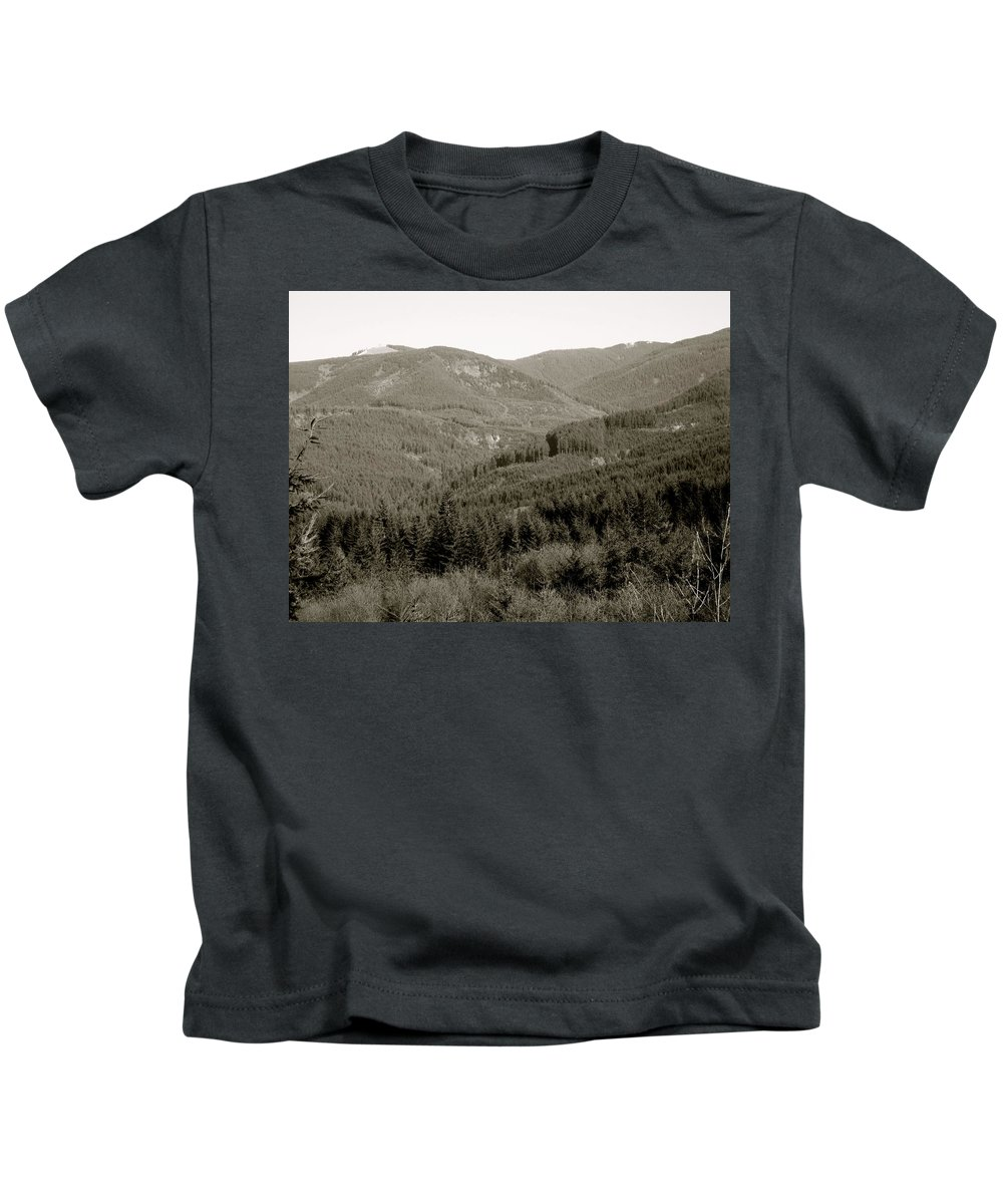 Hills Kids T-Shirt featuring the photograph Hills In Black And White by Linda Hutchins