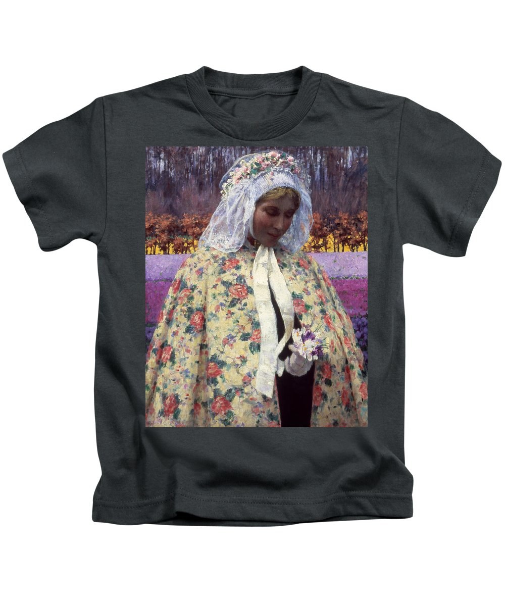 1900 Kids T-Shirt featuring the photograph Hitchcock: The Bride, 1900 by Granger
