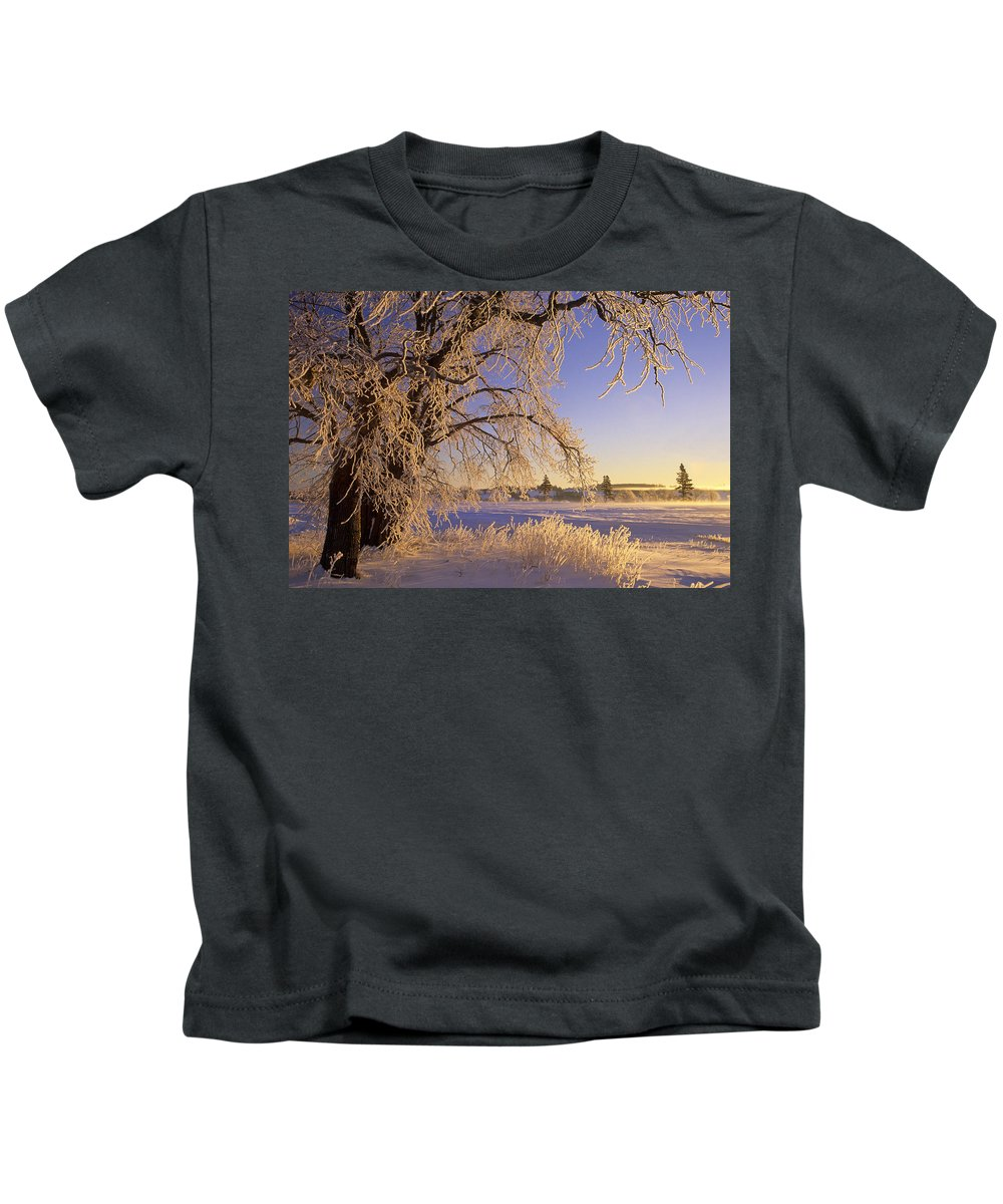 Calming Kids T-Shirt featuring the photograph Hoar Frost On Tree, Milton, Prince by John Sylvester