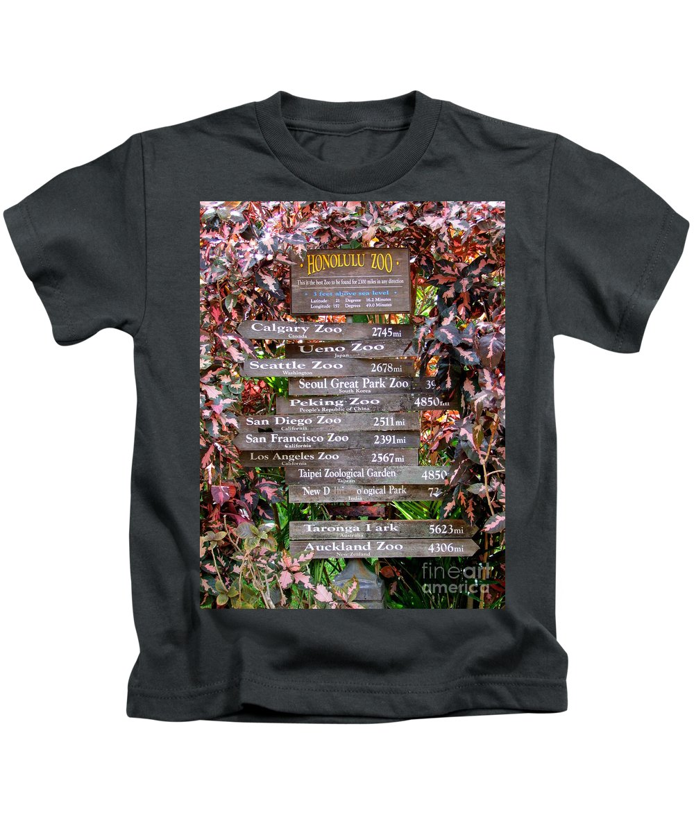 Honolulu Zoo Kids T-Shirt featuring the photograph Honolulu Zoo Signs by Mary Deal