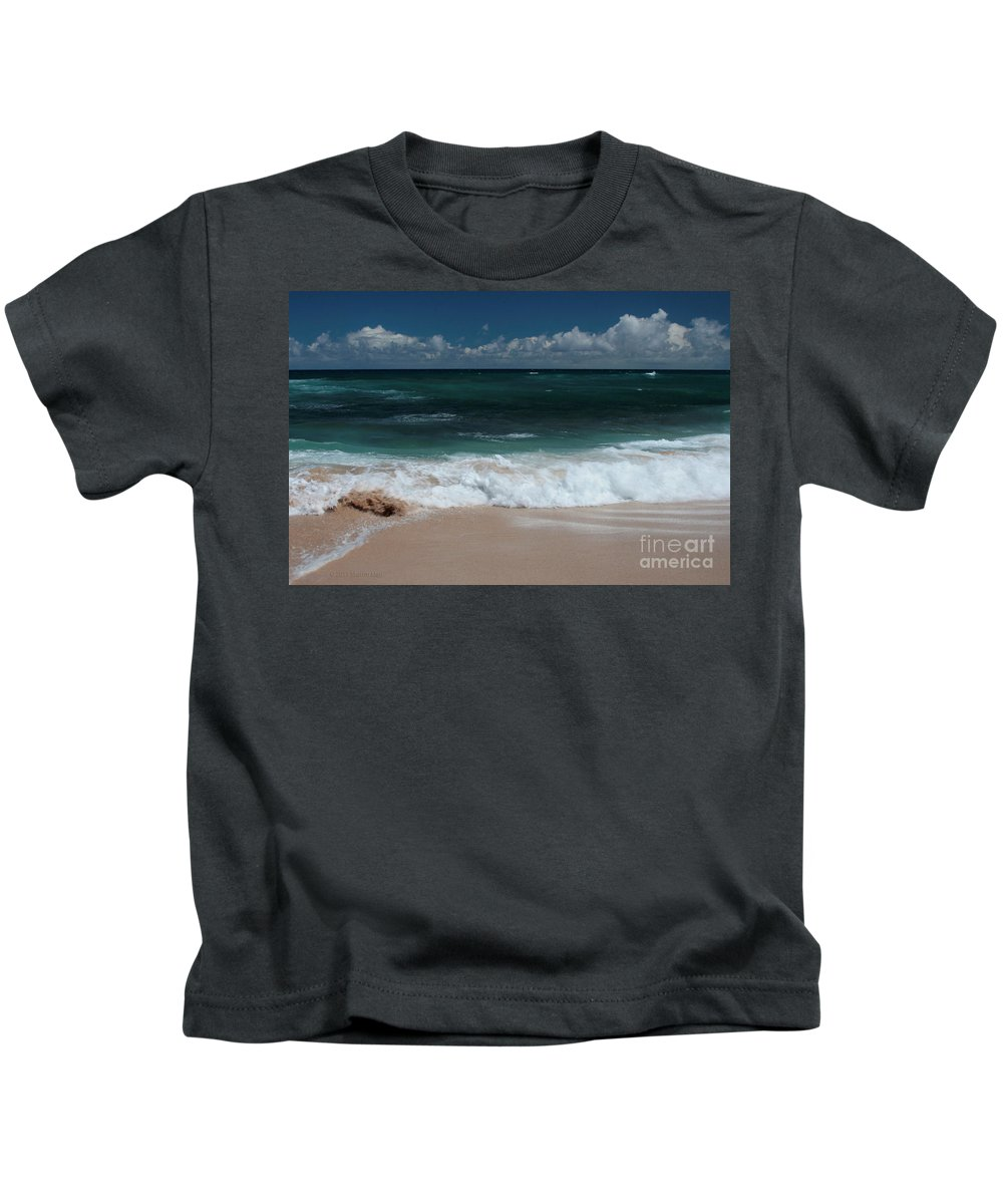 Aloha Kids T-Shirt featuring the photograph Hookipa Waiola At The Outer Edge by Sharon Mau