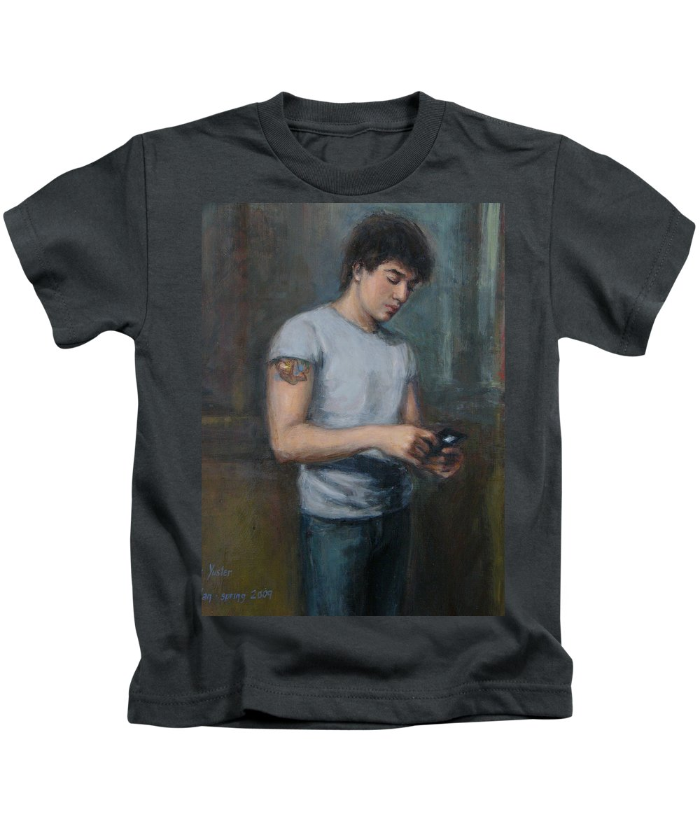 Ian Kids T-Shirt featuring the painting Ian 2009 by Sarah Yuster