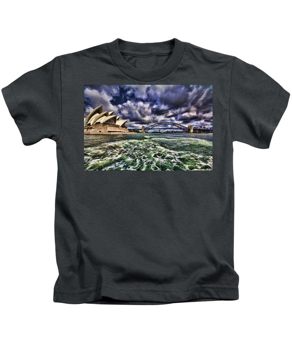 Sydney Harbor Bridge Kids T-Shirt featuring the photograph Iconic Landmarks by Douglas Barnard