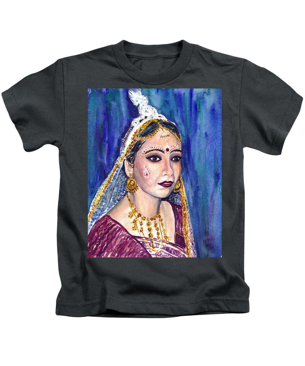 Indian Bride Kids T-Shirt featuring the painting Indian Bride by Clara Sue Beym