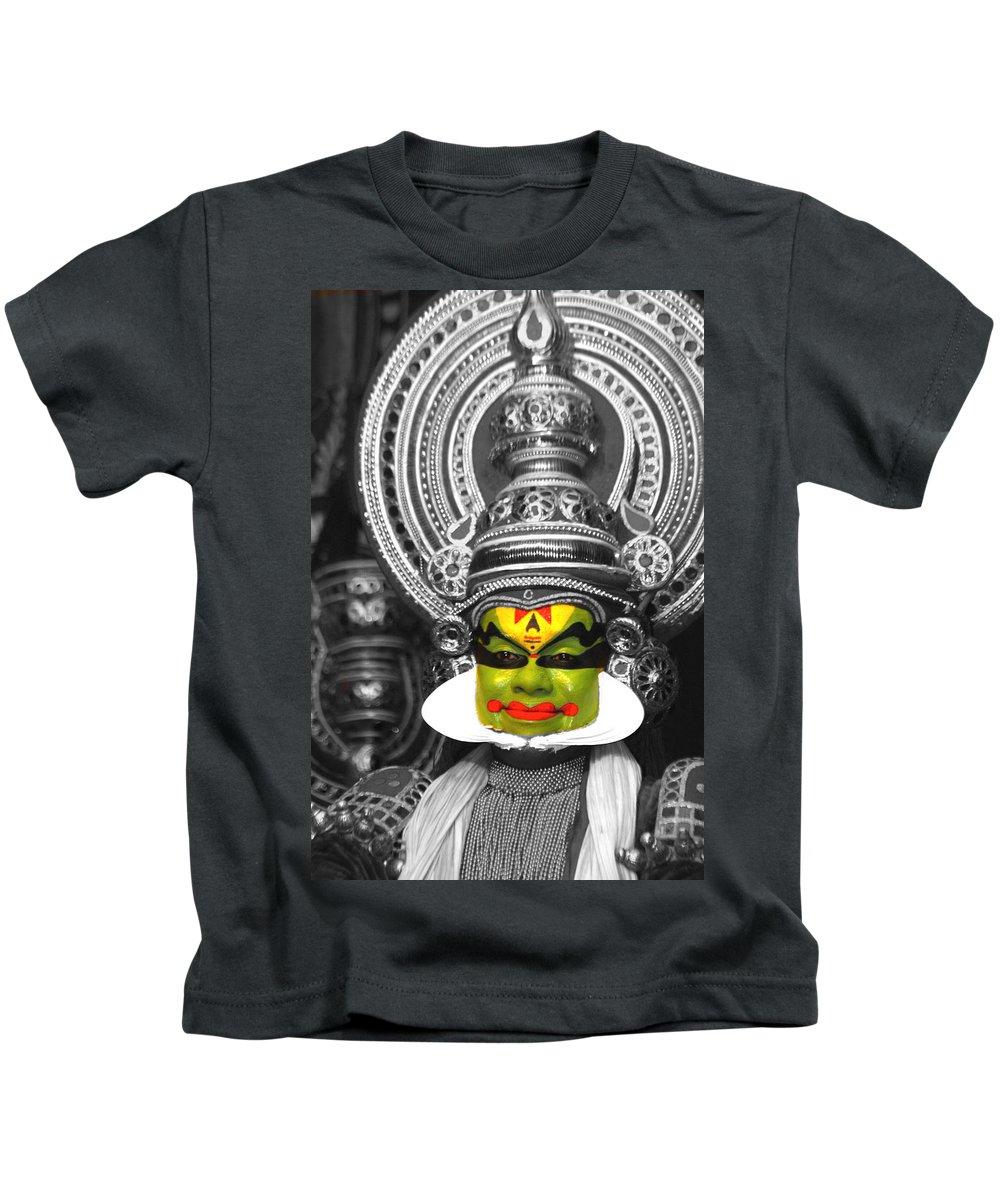 India Kids T-Shirt featuring the photograph indian kathakali dance of Kerela by Sumit Mehndiratta