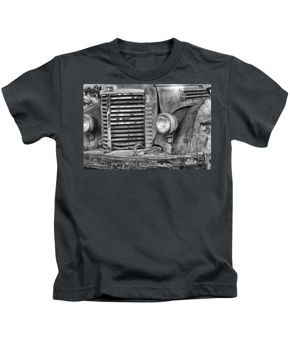 Truck Kids T-Shirt featuring the photograph International Truck Black And White by Jim And Emily Bush