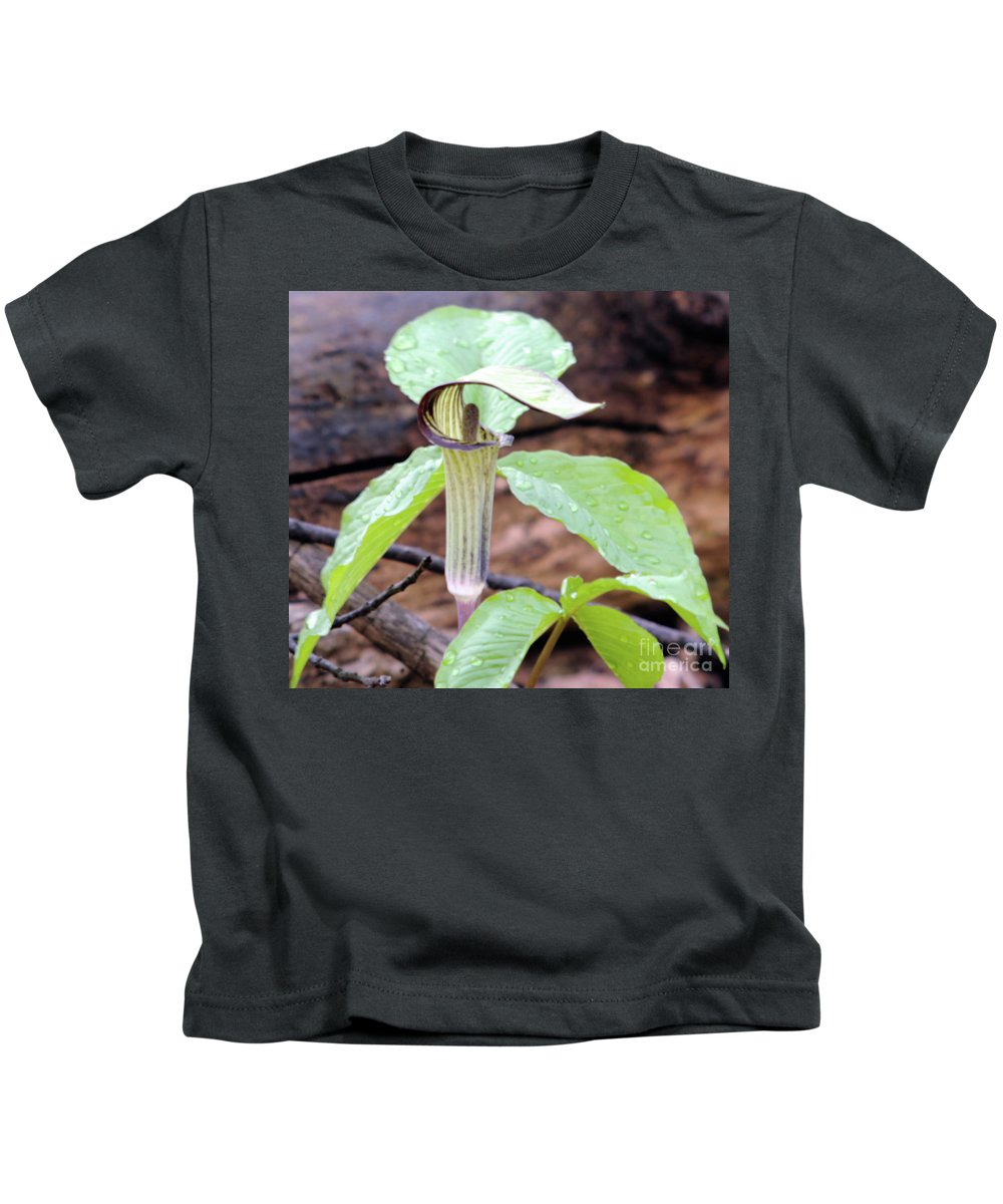 Green Kids T-Shirt featuring the photograph Jack-in-the-pulpit by Ronald Grogan