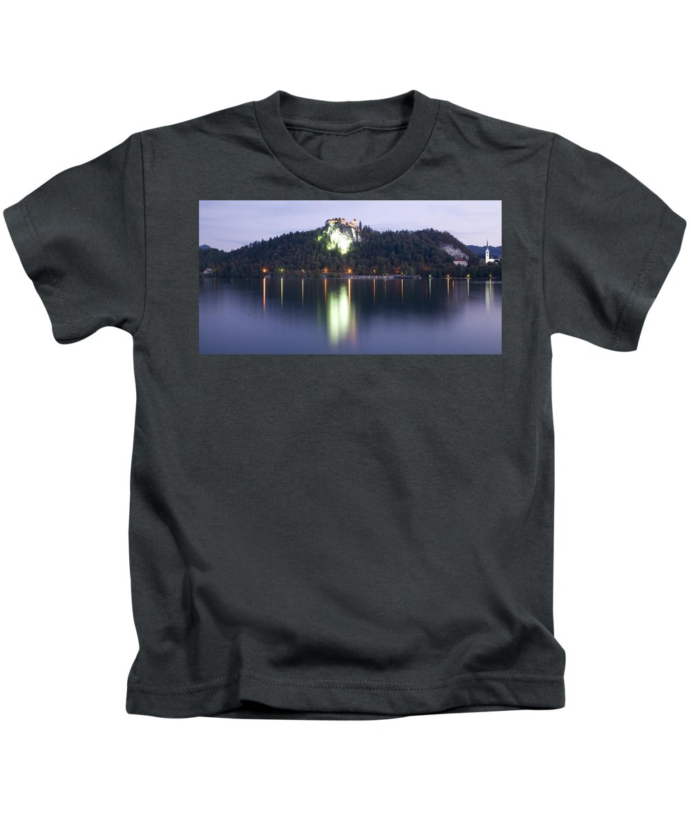 Bled Kids T-Shirt featuring the photograph Lake Bled Castle At Dawn by Ian Middleton