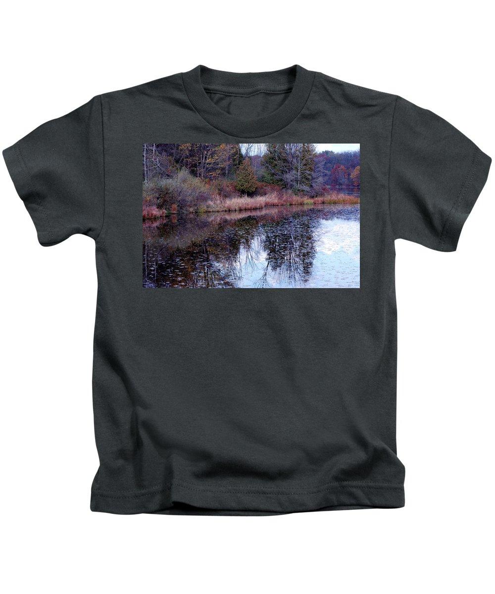 Usa Kids T-Shirt featuring the photograph Leaves On Water by LeeAnn McLaneGoetz McLaneGoetzStudioLLCcom