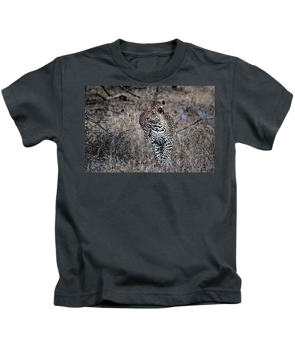 Animal Kids T-Shirt featuring the photograph Leopard Hunt by Paul Fell