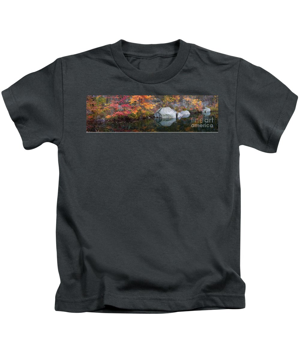 Lincoln Woods Kids T-Shirt featuring the photograph Lincoln Woods Autumn Boulders by Mike Nellums