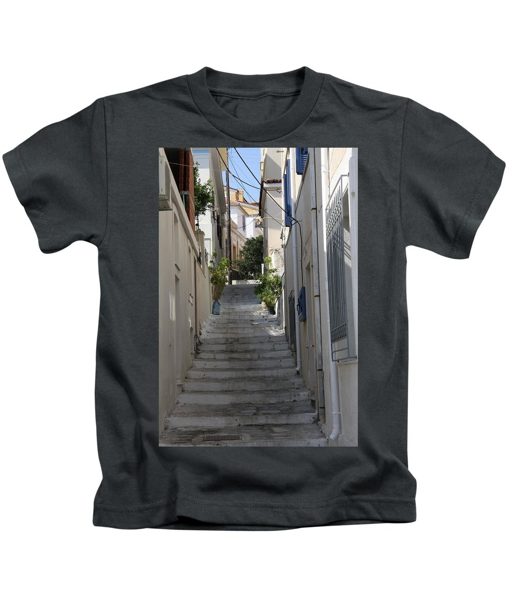 Alley Kids T-Shirt featuring the photograph Little Alley - Samos by Christiane Schulze Art And Photography