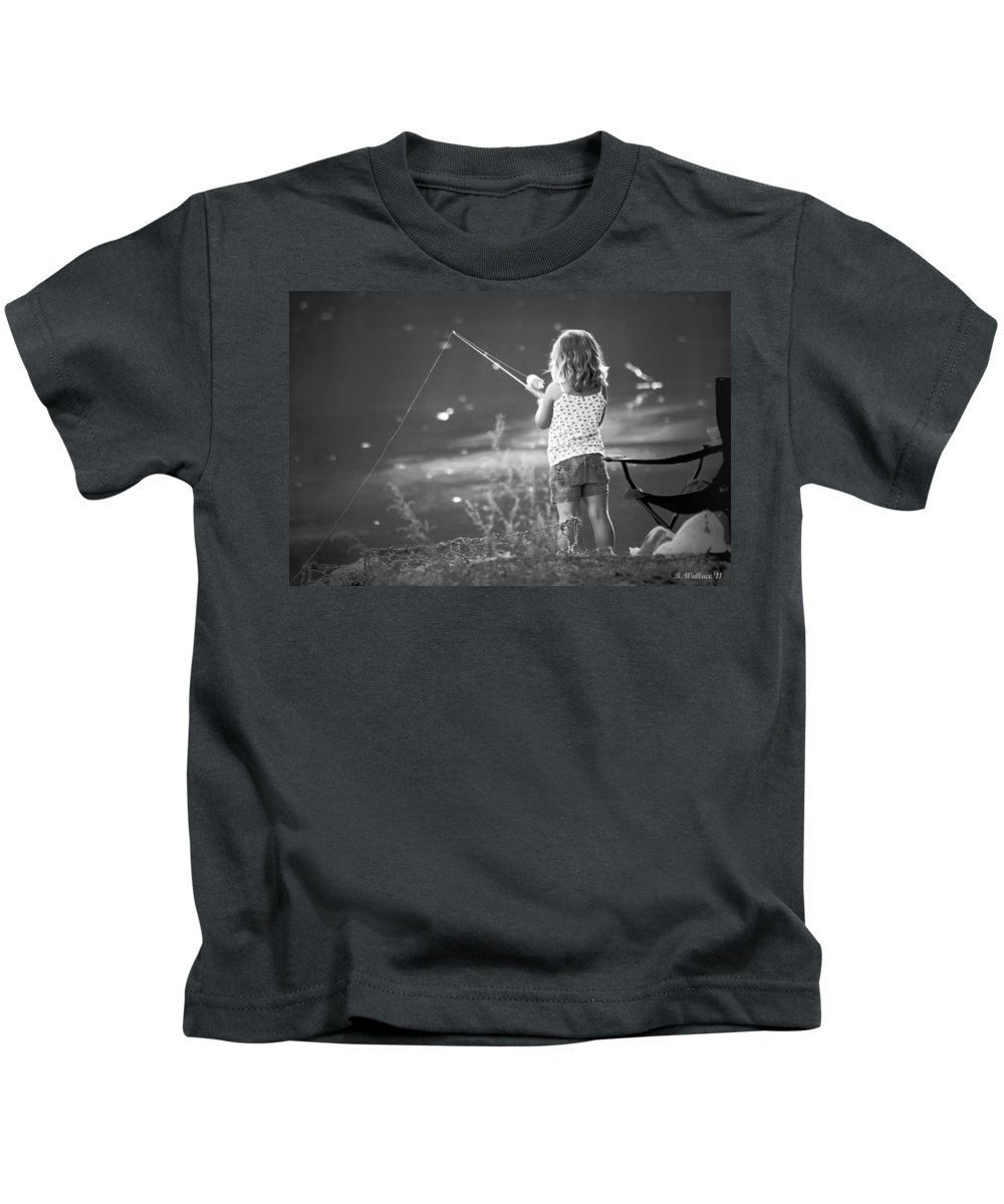 2d Kids T-Shirt featuring the photograph Little Fishing Girl by Brian Wallace
