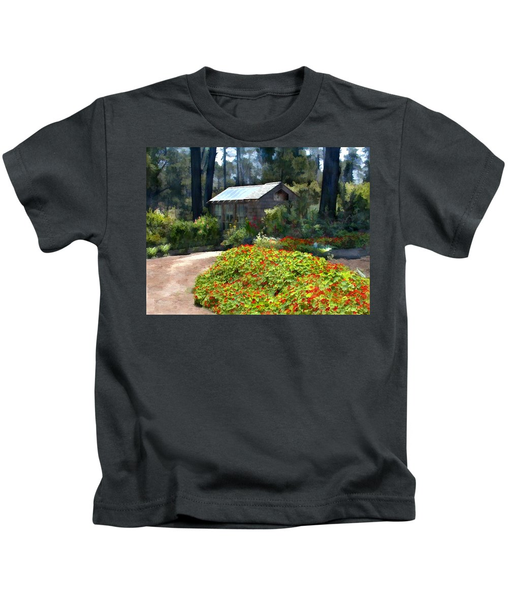 Landscape Kids T-Shirt featuring the painting Little Rustic Cabin In A Clearing In The Woods by Elaine Plesser