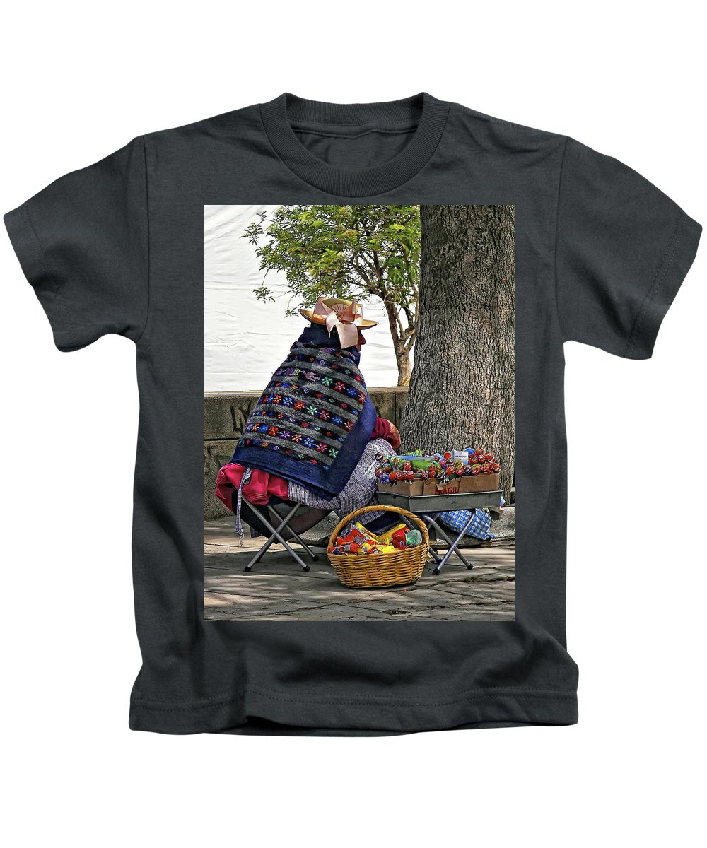 Peru Kids T-Shirt featuring the photograph Lollipop Lady by Steve Harrington