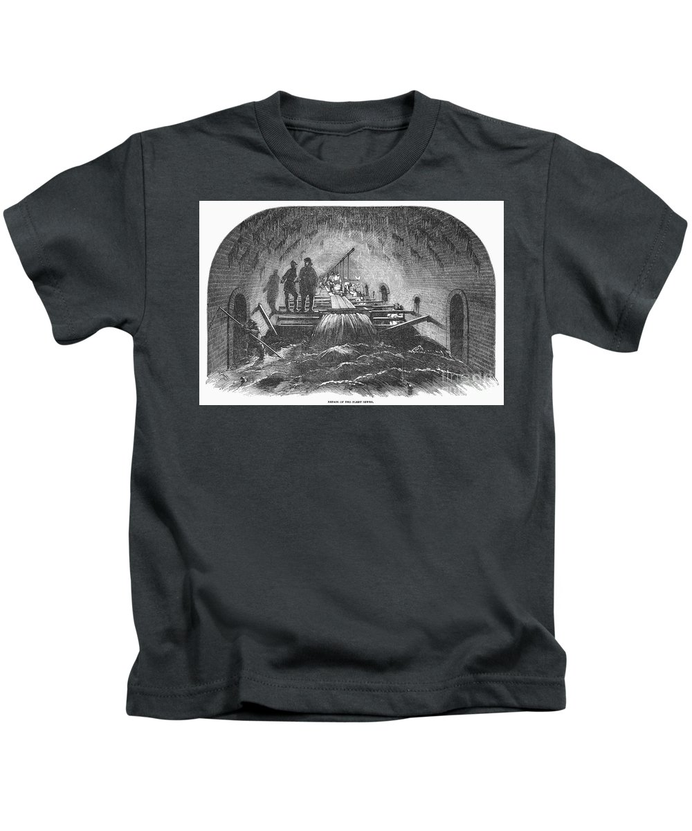1854 Kids T-Shirt featuring the photograph London: Fleet Street Sewer by Granger