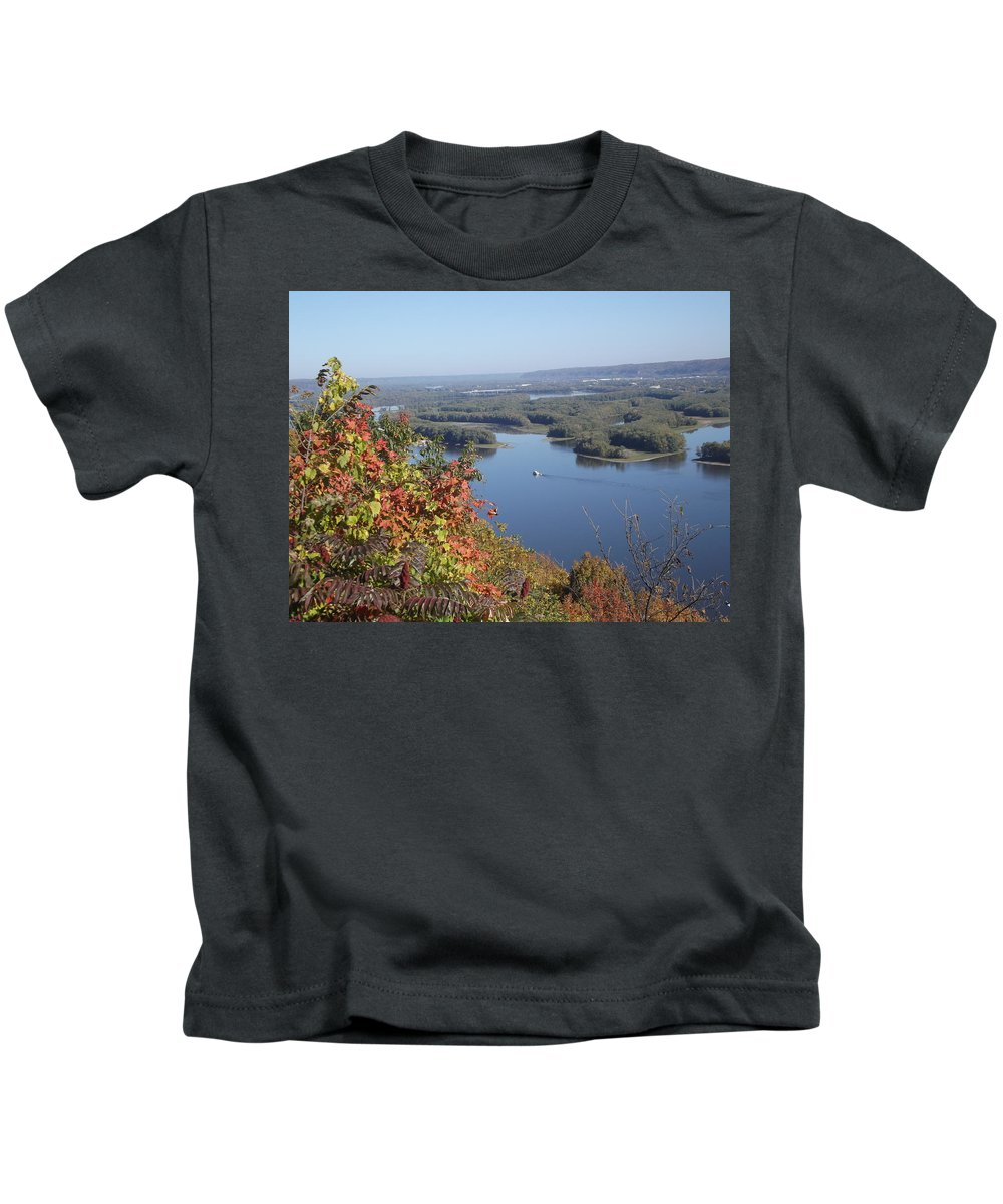 Mississippi River Kids T-Shirt featuring the photograph Lone River Boat by Bonfire Photography